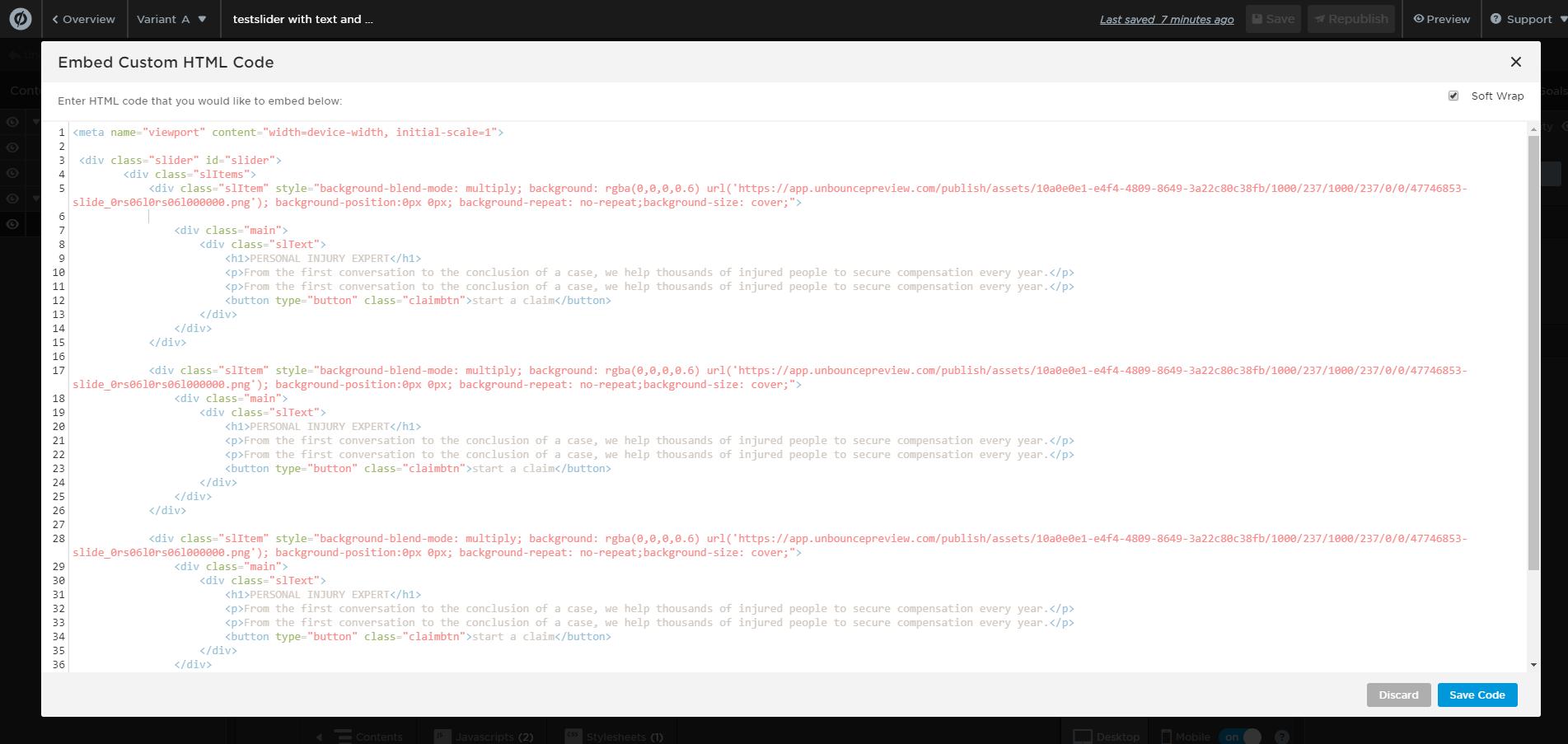 Image Slider in Unbounce | Unbounce Hacks